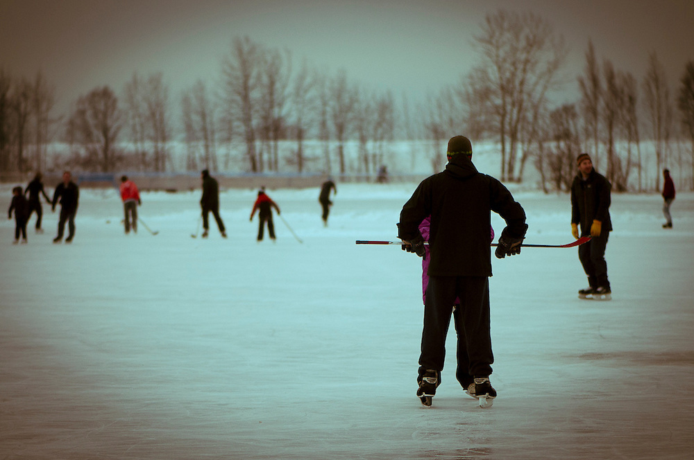 Folks gather for the Charlie Brown Christmas Party Sunday evening at Westchester Lagoon.