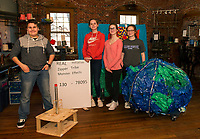 "Dylan Couture, Arianna Jones-Douthart, Mia Lynch and Gabby Von George the ""Real Initiative Zipper Tribe"" show their Stem project for Destination Imagination during Makers Night at the Belknap Mill Thursday evening.  Not pictured from the team are Rhea Ganchi, Sierra Johnson, Kaitlyn Durfee and team leader Sonya Roberts from Laconia Middle School.  (Karen Bobotas/for the Laconia Daily Sun)"