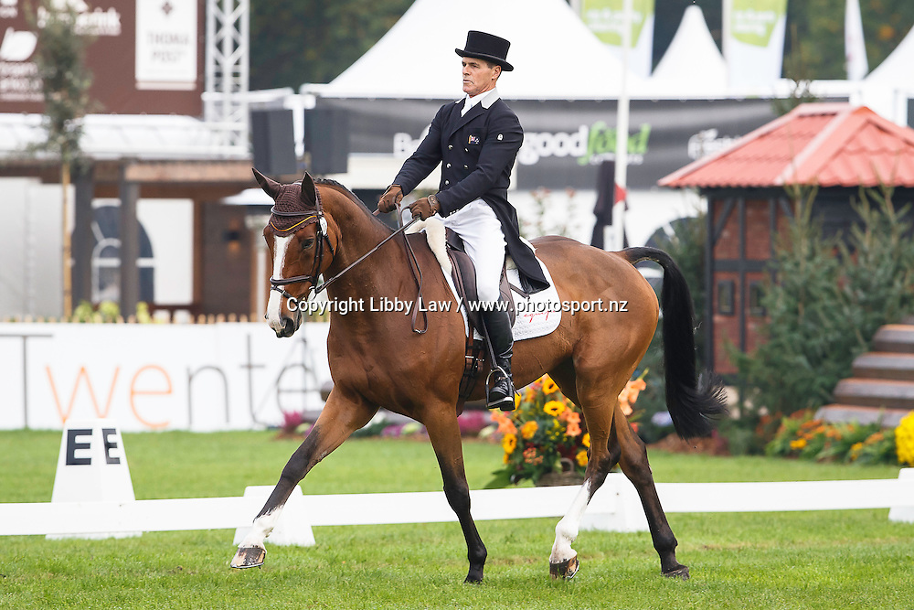 NZL-Blyth Tait (XANTHUS III) INTERIM-13TH: SECOND DAY OF DRESSAGE: 2015 NED-Military Boekelo-Enschede CCIO3* (Friday 9 October) CREDIT: Libby Law COPYRIGHT: LIBBY LAW PHOTOGRAPHY