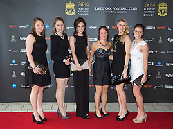 LIVERPOOL, ENGLAND - Tuesday, May 6, 2014: Liverpool Ladies players arrive on the red carpet for the Liverpool FC Players' Awards Dinner 2014 at the Liverpool Arena. Gemma Jackson, Claudia Walker, Beth Donoghue, Nicole Rolser, Corina Schroder and Amanda Da Costa. (Pic by David Rawcliffe/Propaganda)