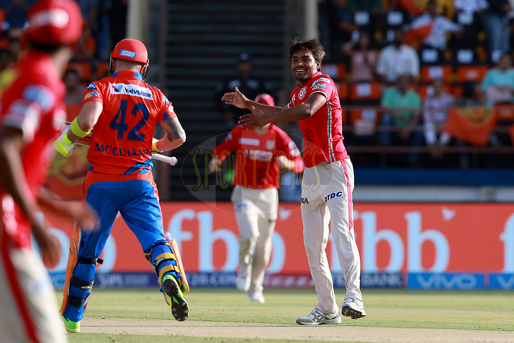 Sandeep Sharma of KXIP celebrates the wicket of Brendon McCullum of GL during match 26 of the Vivo 2017 Indian Premier League between the Gujarat Lions and the Kings XI Punjab held at the Saurashtra Cricket Association Stadium in Rajkot, India on the 23rd April 2017<br /> <br /> Photo by Rahul Gulati - Sportzpics - IPL