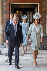 Michael and Carole Middleton arriving for the christening of Prince Louis, the youngest son of the Duke and Duchess of Cambridge at the Chapel Royal, St James's Palace, London.