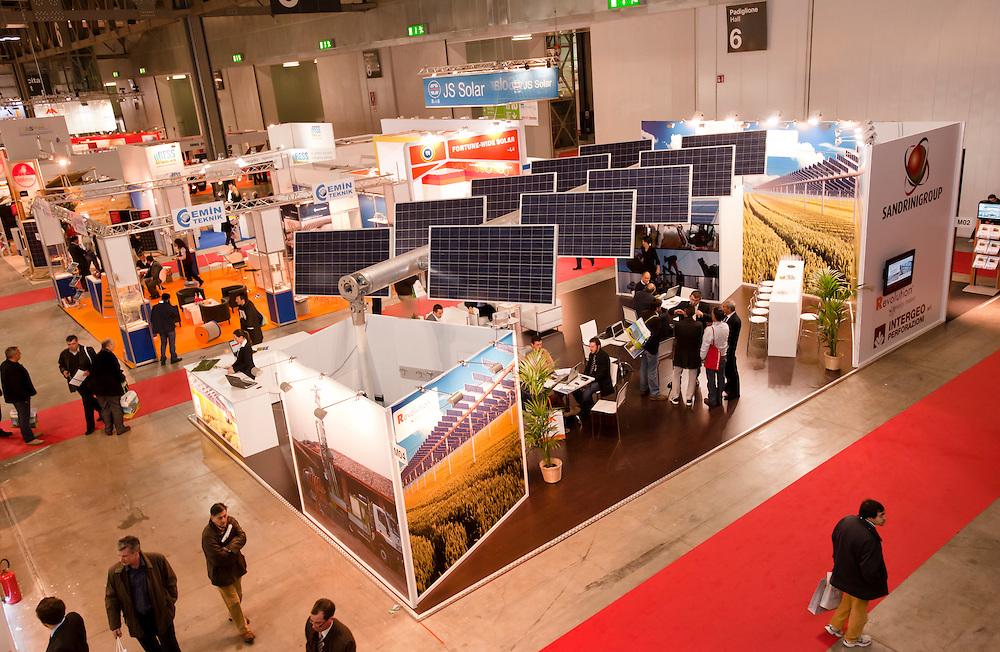 MILAN, NOV 17-19: Top view of ENERSOLAR+ , GREENENERGY Expo 2010, International fair on solar and green energy, in Milan Fair, Nov 17-19, 2010.