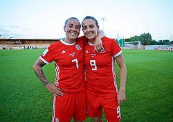 NEWPORT, WALES - Tuesday, June 12, 2018: Wales' goal-scorers Natasha Harding (left) and Kayleigh Green (right) celebrate after beating Russia 3-0 during the FIFA Women's World Cup 2019 Qualifying Round Group 1 match between Wales and Russia at Newport Stadium. (Pic by David Rawcliffe/Propaganda)