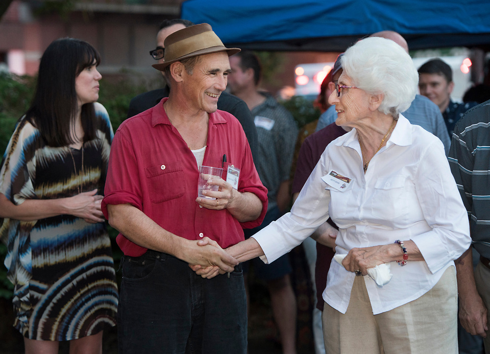 Betty Esper (R) greets Mark Rylance at Meet & Greet and Commemorate with Mark Rylance for the Battle of Homestead Foundation.