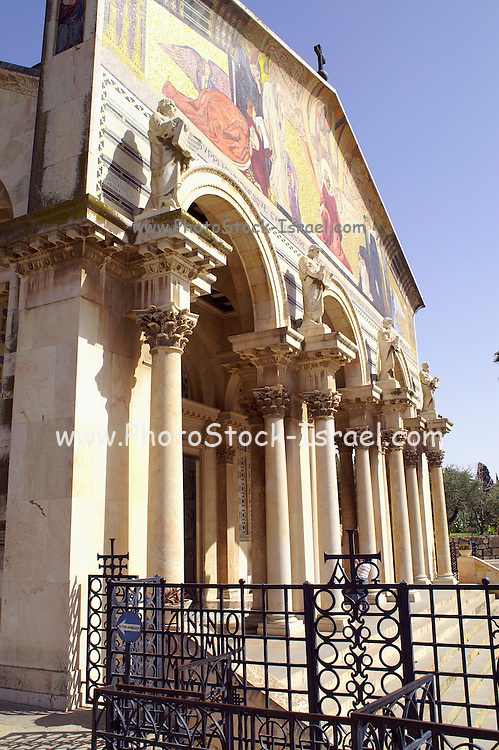the facade of Church of all Nations, Jerusalem. Basilica of the Agony - Church of all Nations, Gethsemane, Jerusalem, Israel. The Church of All Nations, also known as the Church of the Agony or the Basilica of the Agony, is located on Mount of Olives in Jerusalem, next to the Garden of Gethsemane. It enshrines a section of bedrock where Jesus is said to have prayed before the night of his arrest.