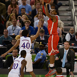 Mar 31, 2012; New Orleans, LA, USA; Ohio State Buckeyes forward Deshaun Thomas (right) shoots over Kansas Jayhawks forward Kevin Young (40) during the first half in the semifinals of the 2012 NCAA men's basketball Final Four at the Mercedes-Benz Superdome. Mandatory Credit: Derick E. Hingle-US PRESSWIRE