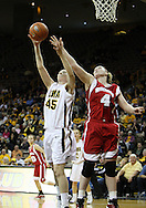 19 February 2009: Iowa forward/center JoAnn Hamlin (45) and Wisconsin center Tara Steinbauer (4) reach for a rebound during the second half of an NCAA women's college basketball game Thursday, February 19, 2009, at Carver-Hawkeye Arena in Iowa City, Iowa. Iowa defeated Wisconsin 72-65.