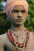 A Sadhu (Hindu ascetic) during the Kumbh Mela festival, Ujjain, Madhya Pradesh, India. The Kumbh Mela festival is a sacred Hindu pilgrimage held 4 times every 12 years, cycling between the cities of Allahabad, Nasik, Ujjain and Hardiwar. Kumbh Mela is one of the largest religious festivals on earth, attracting millions from all over India and the world. Past Melas have attracted up to 70 million visitors.