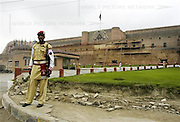 A guard stands outside the Bala Hisar Fort in Peshawar, Pakistan on Friday Aug. 4, 2006. Built on a raised platform from the ground level, the Bala Hisar Fort stands at the north-western edge of the city. the original structure was razed in 1519 AD during the reign of the Mughal Emperor Babar. It was reconstructed in its present form by Sikhs who ruled over the Peshawar valley between 1791 and 1849 AD.