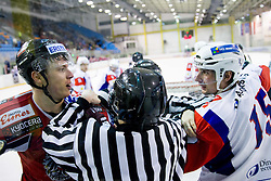 Matthias Iberer of Austria in fight with BLAZ GREGORC of Slovenia during Friendly Ice-hockey match between National teams of Slovenia and Austria on April 19, 2013 in Ice Arena Tabor, Maribor, Slovenia.  Slovenia defeated Austria 5-2. (Photo By Vid Ponikvar / Sportida)