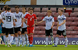 WREXHAM, WALES - Tuesday, September 10, 2019: Germany's Robin Hack (#17) celebrates scoring the third goal, completing his hat-trick, during the UEFA Under-21 Championship Italy 2019 Qualifying Group 9 match between Wales and Germany at the Racecourse Ground. (Pic by David Rawcliffe/Propaganda)