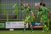 Forest Green Rovers Joseph Mills(23) and celebrates during the The FA Cup match between Forest Green Rovers and Billericay Town at the New Lawn, Forest Green, United Kingdom on 9 November 2019.