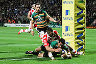 George Pisi of Northampton Saints scoring a try during the Aviva Premiership match at Franklin's Gardens, Northampton<br /> Picture by Andy Kearns/Focus Images Ltd 0781 864 4264<br /> 05/09/2014