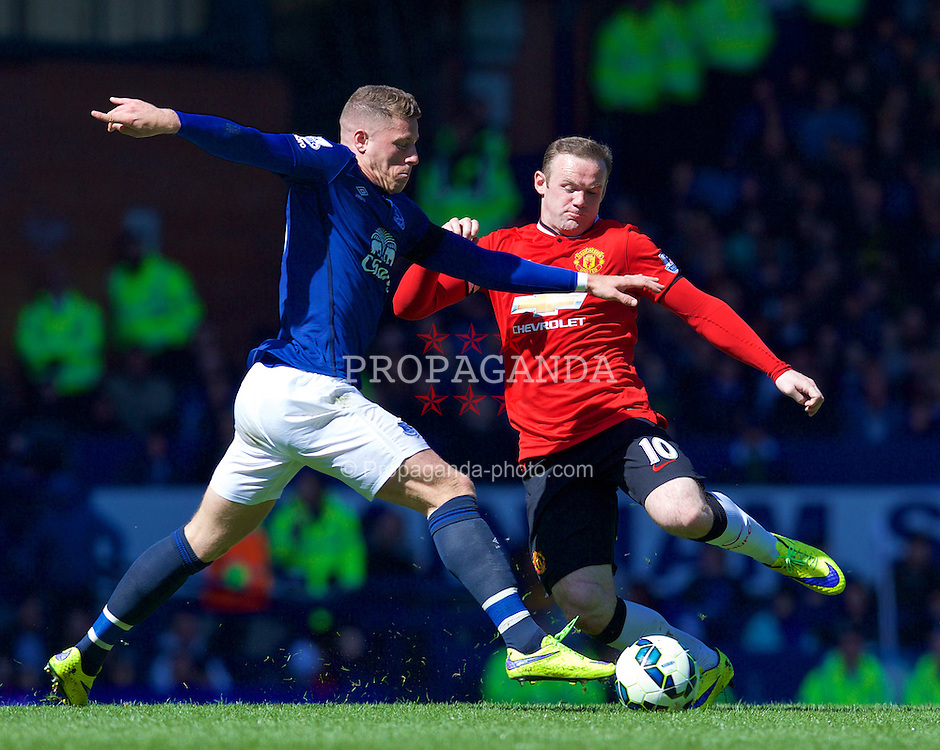 LIVERPOOL, ENGLAND - Sunday, April 26, 2015: Everton's Ross Barkley in action against Manchester United's Wayne Rooney during the Premier League match at Goodison Park. (Pic by David Rawcliffe/Propaganda)