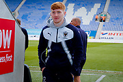AFC Wimbledon midfielder Alfie Egan (28) arrives  during the EFL Sky Bet League 1 match between Wigan Athletic and AFC Wimbledon at the DW Stadium, Wigan, England on 28 April 2018. Picture by Simon Davies.