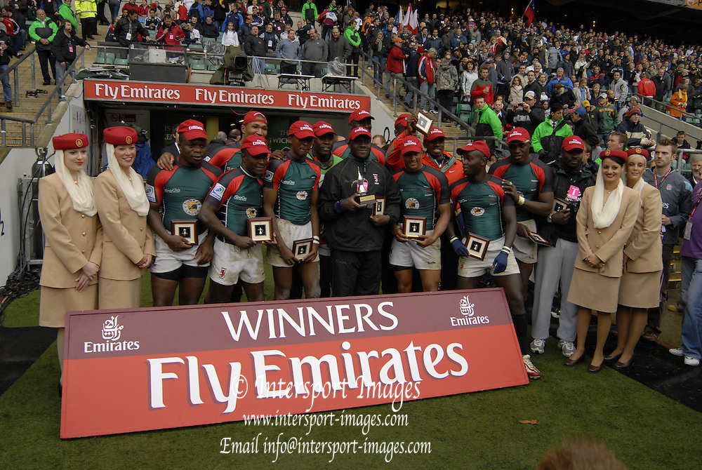 Twickenham, England. Kenya, Shield Winners after defeating Italy in the final,  at the London Sevens Rugby, Twickenham Stadium, Sun, 27/05/2007 [Credit Peter Spurrier/ Intersport Images]