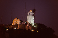 Guia fortress lighthouse and church (1637). Macau. set in the 17th century. fort on the highest hill, this was the first lighthouse on the China coast when it open in 1865  ///  la forteresse de Guia ; chapelle et phare. Macao. Le symbole du rÙle culturel et missionnaire du Portugal en Asie /// R211/21    L1608  /  R00211  /  P0006594