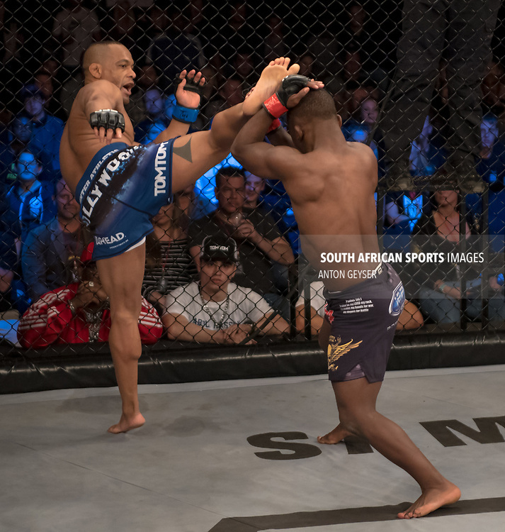 DURBAN, SOUTH AFRICA - JUNE 10: (L) Abdul Hassan from South Africa during the EFC 60 Fight Night at Sibaya Casino on June 10, 2017 in Durban, South Africa. (Photo by Anton Geyser/EFC Worldwide/Gallo Images)