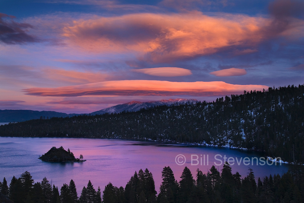 Most landscape photos of Emerald Bay are taken at sunrise as the morning sun creates more color when you are looking to the east in the early hours. With the sun behind you the clouds in the east must be dramatic and reach high into the sky to pick up the evening color.