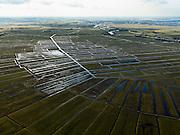 Nederland, Noord-Holland, Gemeente Ouder-Amstel, 20-02-2012; Polder De Ronde Hoep, een van de grootste onbebouwde veenweidegebieden van de Randstad met karakteristiek stervormig kavelpatroon. Dit slotenpatroon van gerende verkaveling is ontstaan in de middeleeuwen ten tijde van de ontginning van het laagveen  (er is ontgonnen vanuit en loodrecht op de omringende riviertjes Amstel, Bullewijk, Waver). Rechts de Amstel, Uithoorn aan de horizon..Polder Round Hoep, one of the largest undeveloped pasture area's in the Randstad with characteristic star-shaped pattern. This pattern is the result of the extraction during the Middle Ages..luchtfoto (toeslag), aerial photo (additional fee required);.copyright foto/photo Siebe Swart.