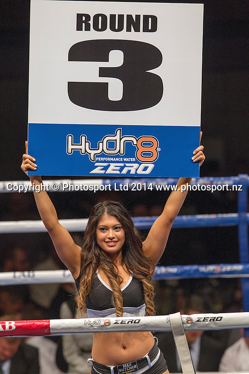 Ring Girl at the Hydr8 Zero Heavyweight Explosion, Vodafone Events Centre, Auckland, New Zealand, Saturday, July 05, 2014. Photo: David Rowland/Photosport