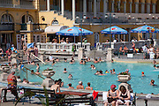 Budapest. The Széchenyi thermal bath in Budapest is the largest medicinal bath in Europe. Szechenyis thermal springs were discovered in 1879. The neo-baroque buildings were built in 1913.