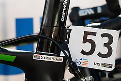 January 18, 2018 - Glenelg, South Australia, Australia - Nicolas Dlamini's bike number at the start of Stage 3, Glenelg to Victor Harbor, of the Tour Down Under, Australia on the 18 of January 2018  (Credit Image: © Gary Francis via ZUMA Wire)