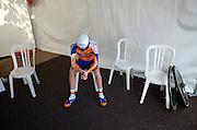 Rabobank's Steven Kruijswijk (finished 3rd overall) prepares before the final TT.