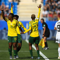Kholosa Biyana of South Africa and Busisiwe Ndimeni of South Africa react during the Women's World Cup match between Germany and South Africa at Stade de la Mosson on June 17, 2019 in Montpellier, France. (Photo by Alexandre Dimou/Icon Sport)