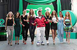Repro Free: 11/09/2014<br /> Andy Quirke a.k.a. Damo from Damo and Ivor is pictured with Carla O'Brien, Maia Dunphy, Hilary Rose, Vogue Williams Bl&aacute;thnaid Treacy, Diana Bunici, Kelly McDonagh Mongan and Orla Walsh at the RT&Eacute; Two New Season Launch in Gateway House, Capel Street. Picture Andres Poveda