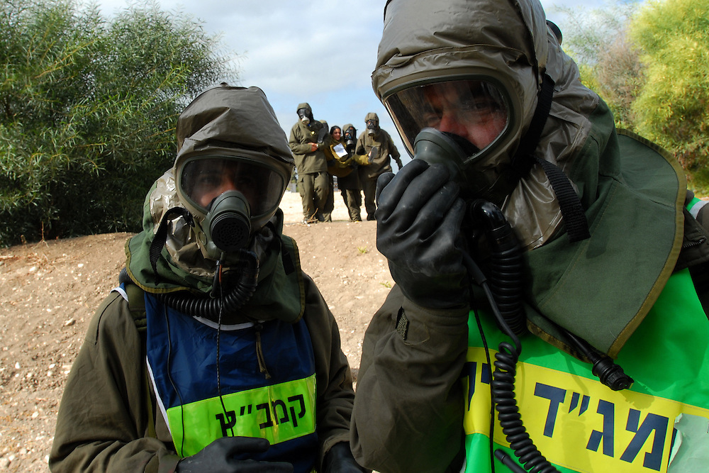 A chemical attack rescue unit responding to a simulated chemical attack during a Home Front Command drill simulating chemical attack over Israel. <br /> Home Front Command's rescue battalions are trained for rescueing trapped people from destruction sites as well as from sites hit by chemical weapons.