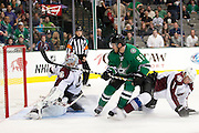 DALLAS, TX - SEPTEMBER 26:  Tyler Seguin #91 of the Dallas Stars has his shot blocked by Semyon Varlamov #1 of the Colorado Avalanche in an NHL preseason game on September 26, 2013 at the American Airlines Center in Dallas, Texas.  (Photo by Cooper Neill/Getty Images) *** Local Caption *** Tyler Seguin; Semyon Varlamov