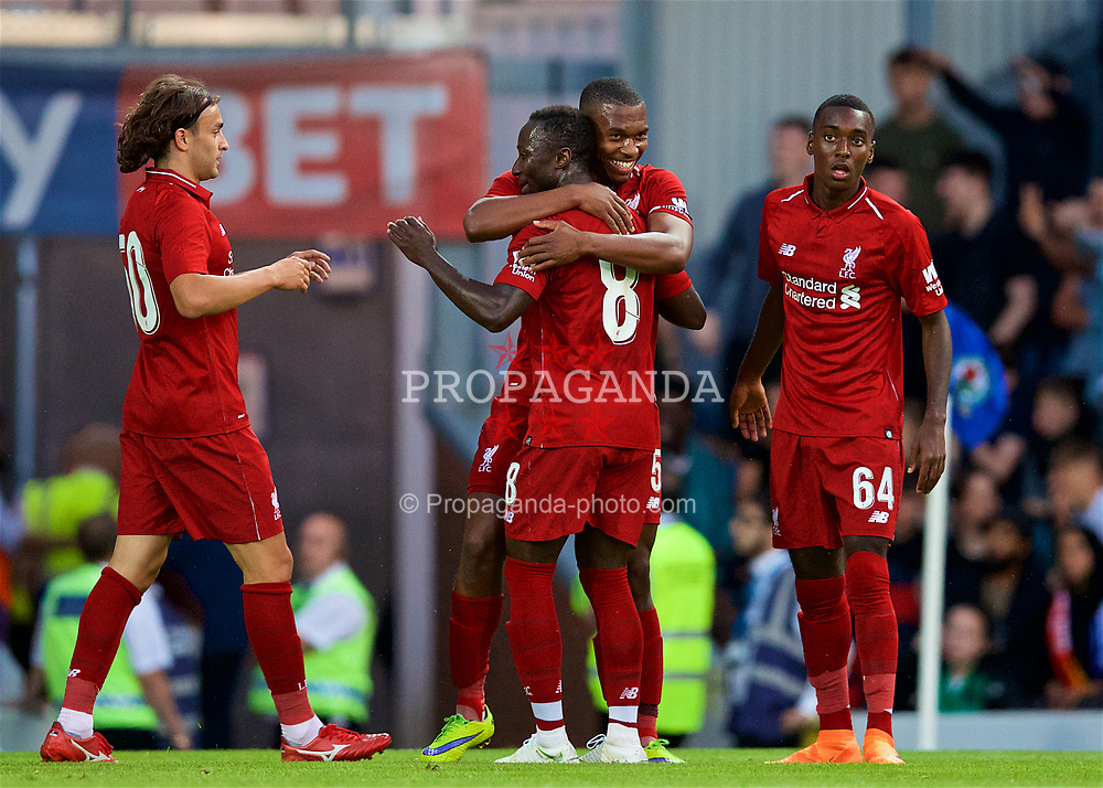 BLACKBURN, ENGLAND - Thursday, July 19, 2018: Liverpool's Daniel Sturridge celebrates scoring the second goal with team-mate Naby Keita during a preseason friendly match between Blackburn Rovers FC and Liverpool FC at Ewood Park. (Pic by David Rawcliffe/Propaganda)