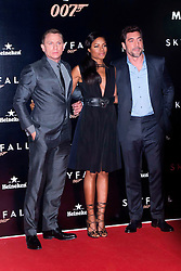 (L-R) Daniel Craig, Naomie Harris and Javier Bardem during the Premiere of the latest James Bond movie 007 Skyfall, Madrid, Spain, Marta G. Rodriguez / DyD Fotografos / i-Images....SPAIN OUT