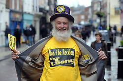 © Licensed to London News Pictures. 15/11/2014<br /> Hairy Knorm  Looney candidate.<br /> Rochester and Strood By-Election candidate for the Looney Party  Hairy Knorm  was in Rochester High Street today with party members campaigning.<br /> <br /> (Byline:Grant Falvey/LNP)