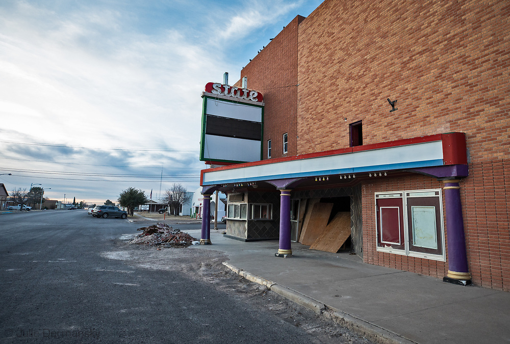 Movie theater in downtown Pecos Texas in the Permian Basin.