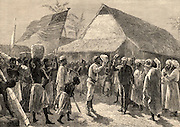 Dr Livingstone, I presume?'  Henry Morton Stanley (1841-1904) Welsh-born American journalist and explorer meeting Dr David Livingstone (1813-1873) Scottish missionary and explorer of Africa at Ujiji, Tanganyika, East Africa,  10 November 1871. Engraving from 'Heroes of Britain' by Edwin Hodder (London, c1880).