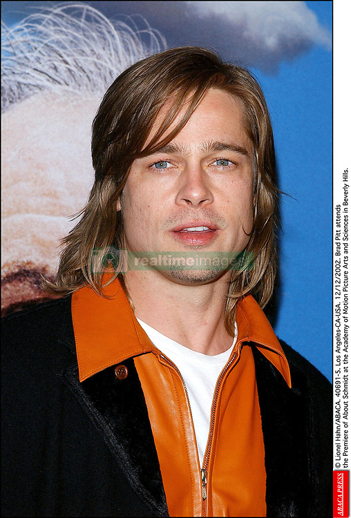 © Lionel Hahn/ABACA. 40691-5. Los Angeles-CA-USA. 12/12/2002. Brad Pitt attends the Premiere of About Schmidt at the Academy of Motion Picture Arts and Sciences in Beverly Hills.  About Schmidt Monsieur Schmidt Pitt Brad Premiere Avant premiere Avant-premiere Premiere Seule Seul Seuls Seules Alone Soiree Party Los Angeles USA United States of America Vereinigte Staaten von Amerika Etats-Unis Etats Unis Headshot Portraits Portrait Headshots Head Shot Head Shots Vertical Vertical  | 40691_05