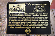 Historic plaque at the Tombstone Firehouse (1881), Tombstone, Arizona USA