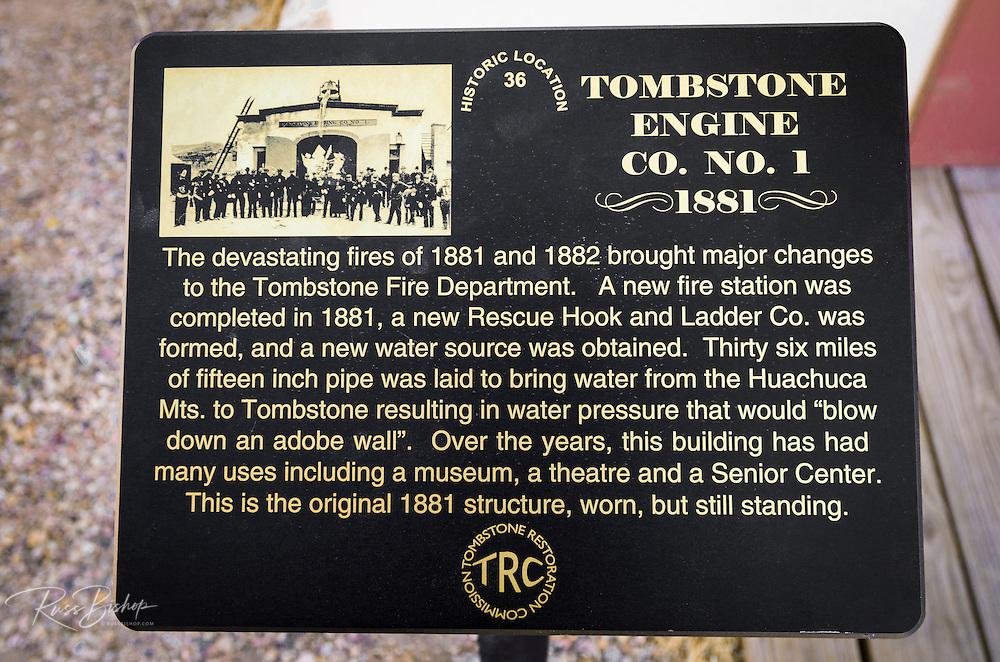 Historic plaque at the Tombstone Firehouse (1881), Tombstone, Arizona USA