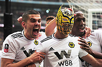 Football - 2018 / 2019 Emirates FA Cup - Semi-Final: Wolverhampton Wanderers vs. Watford<br /> <br /> Raul of Wolves celebrates scoring goal no 2 by putting on  a Wolves mask , at Wembley Stadium.<br /> <br /> COLORSPORT/ANDREW COWIE