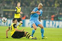 26.11.2013, Signal Iduna Park, Dortmund, GER, UEFA CL, Borussia Dortmund vs SSC Neapel, Gruppe F, im Bild Valon Behrami (SSC Napoli), Nuri Sahin (Borussia Dortmund) // Valon Behrami (SSC Napoli), Nuri Sahin (Borussia Dortmund) during UEFA Champions League group F match between Borussia Dortmund and SSC Napoli at the Signal Iduna Park in Dortmund, Germany on 2013/11/26. EXPA Pictures © 2013, PhotoCredit: EXPA/ Newspix/ Lukasz Skwiot / Foto Olimpik<br /> <br /> *****ATTENTION - for AUT, SLO, CRO, SRB, BIH, MAZ, TUR, SUI, SWE only*****