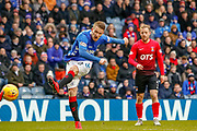 Steven Davis of Rangers gets a shot away during the Ladbrokes Scottish Premiership match between Rangers and Kilmarnock at Ibrox, Glasgow, Scotland on 16 March 2019.
