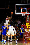 Southern California Trojans forward Onyeka Okongwu (21) shoots the ball during the first half of an NCAA basketball game against the South Dakota State Jackrabbits, Tuesday, Nov. 12, 2019, in Los Angeles. USC defeated South Dakota State 84-66. (Brandon Sloter/Image of Sport)