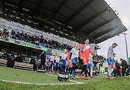 FODBOLD: Spillerne går på banen til kampen i ALKA Superligaen mellem OB og FC Helsingør den 11. februar 2018 på Odense Stadion, EWII Park. Foto: Claus Birch.