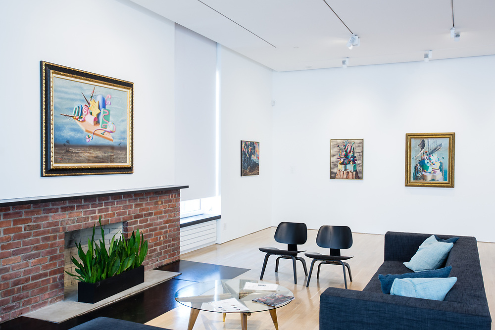 "The main gallery of the Center for Italian Modern Art, with Alberto Savinio's ""I re magi"" (The Wise Men), over the fireplace."