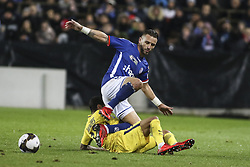 December 13, 2017 - Strasbourg, France - Strasbourg's French midfielder Anthony Goncalves (Blue) vies with Paris Saint-Germain's Brazilian defender Dani Alves during the french League Cup match, Round of 16, between Strasbourg and Paris Saint Germain on December 13, 2017 in Strasbourg, France. (Credit Image: © Elyxandro Cegarra/NurPhoto via ZUMA Press)