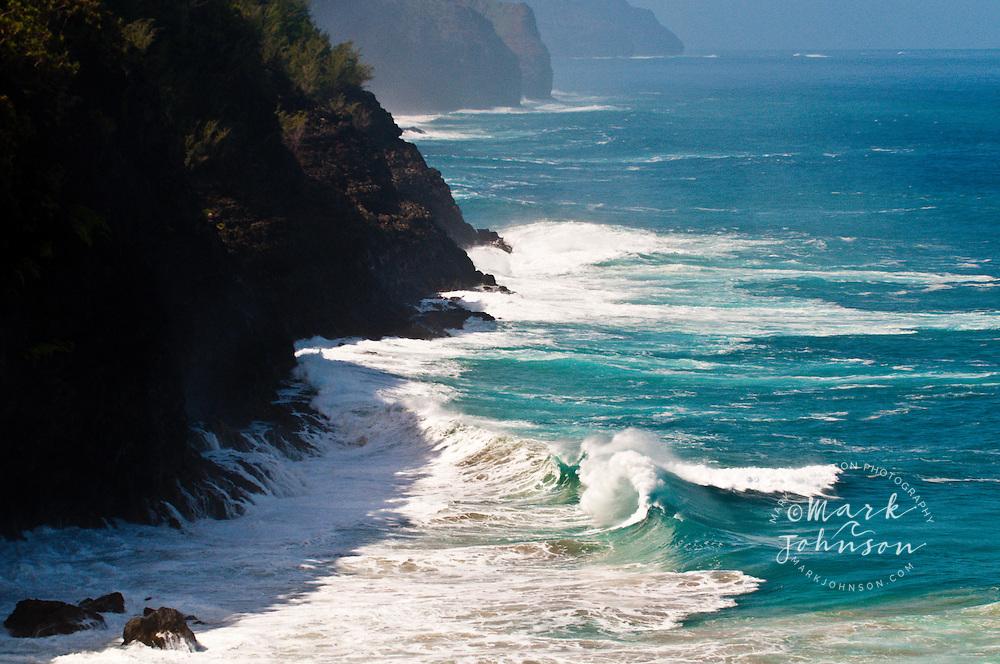Winter storm surf off the Na Pali Coast, Kauai, Hawaii
