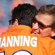 Cooper Manning, brother of Payton Manning, on the sidelines before the Denver Broncos vs Pittsburgh Steelers, NFL Divisional Round match at Authority Field at Mile High, Denver, Colorado.  17th January 2016. Photo Tim Clayton